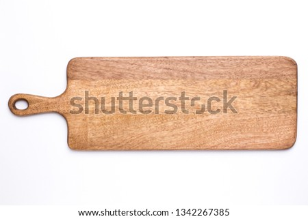 Wooden long kitchen board on a white background top view isolated Foto stock ©