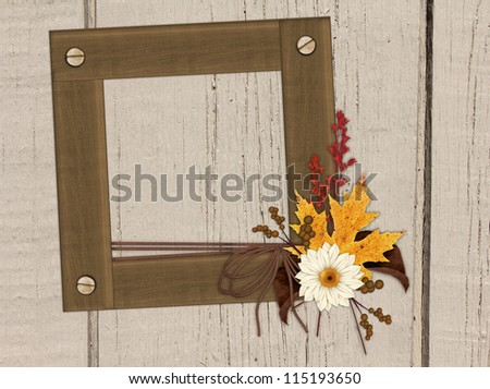 Wooden look frame on wood background decorated with autumn foliage, ribbon and bow (mixed media).