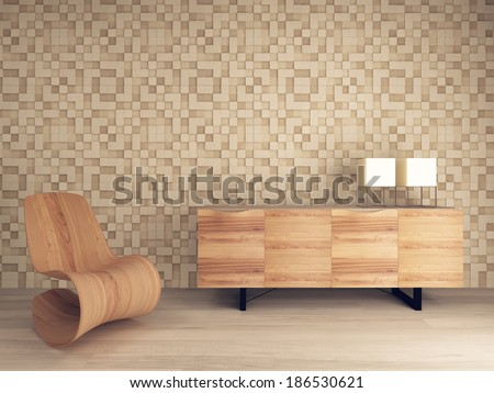 Wooden lounge chair against mosaic pattern wall with sideboard