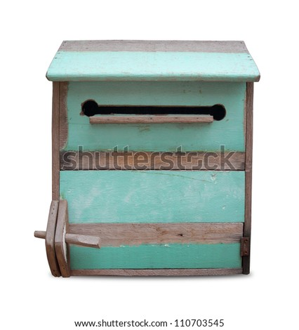Wooden mailbox isolate on white background.