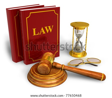 Wooden mallet, hourglasses and code of laws isolated on white background