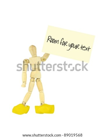 Wooden mannequin business card and wooden shoes
