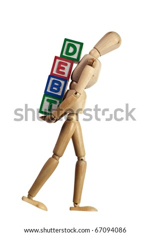 Wooden mannequin carrying blocks with the word DEBT on its back isolated on white background