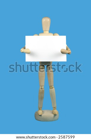 Wooden mannequin holding a blank white card on sky blue background, space for text. Part of set.