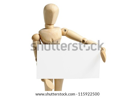 Wooden mannequin holds in hand a blank business card isolated on white background - stock photo