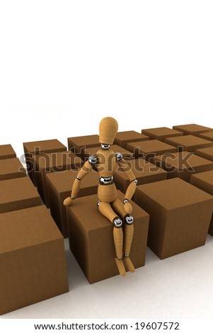 Wooden mannequin sitting on moving box, surrounded by lots of other boxes