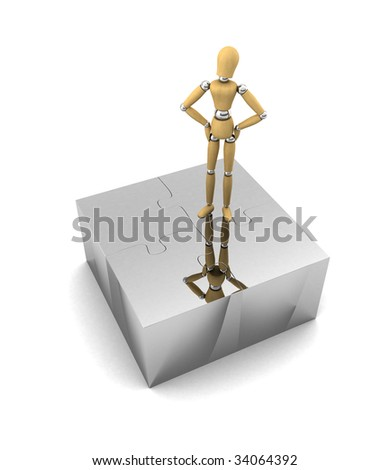 Wooden mannequin standing proud on top of assembled puzzle pieces