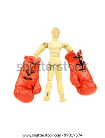 Wooden mannequin with boxing gloves representing defeat of the republican party in the upcoming elections.