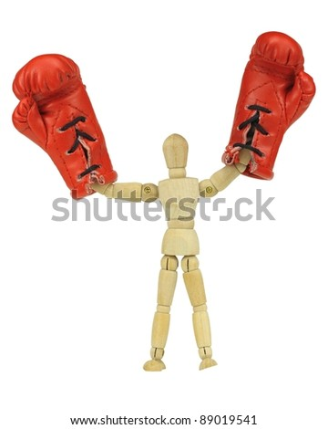 Wooden mannequin with boxing gloves representing victory of the republican party in the upcoming elections.
