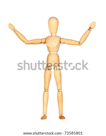 Wooden mannequin with extended arms isolated on white background