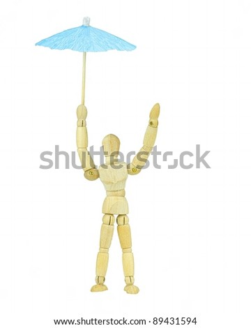 Wooden mannequin with umbrella for protection