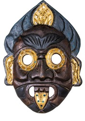 wooden mask African mask mask of the peoples of Asia, cut out the picture on a white background