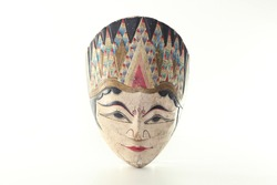 Wooden Mask Indonesian Traditional Isolated White Background Handicraft