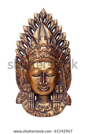 Wooden mask of god Vishnu isolated on white