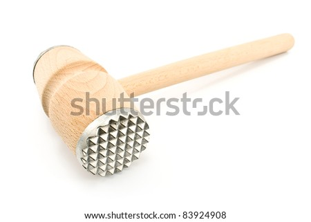 Wooden meat tenderizer isolated on  white