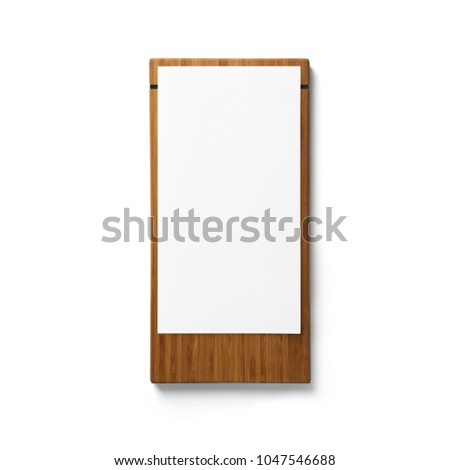 wooden menu board with white background.Mockup #1047546688