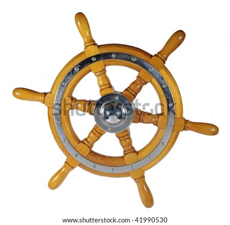 wooden metal wheel steering us white background - stock photo