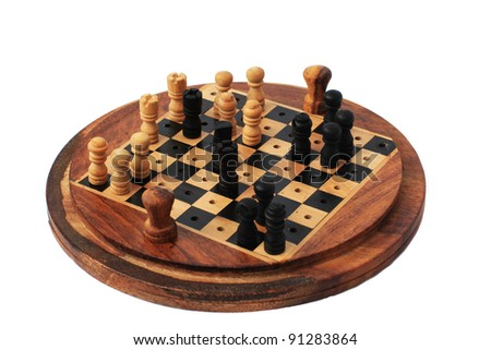 Wooden Miniature Circle Chess Set - CheckMate position