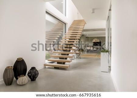 wooden minimalistic stairs in...