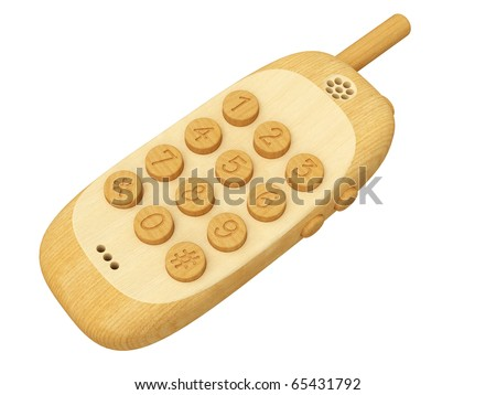Wooden mobile phone isolated on white background. High resolution 3D image.