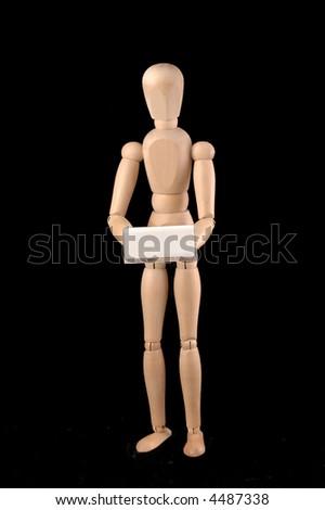 Wooden model dummy white a price ticket