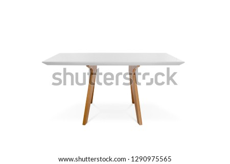 Wooden modern Table isolated on white background.