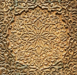 Wooden Moroccan Architecture Engrave Details Close Up