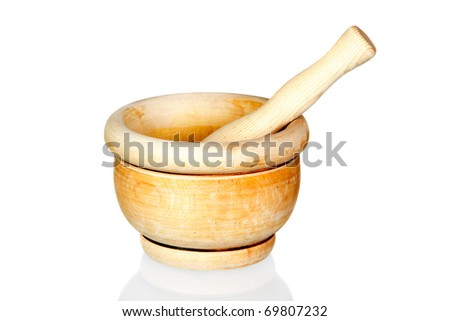 Wooden mortar isolated on white background with reflection