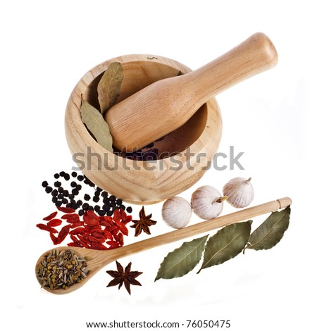 Wooden mortar with spoon and spices