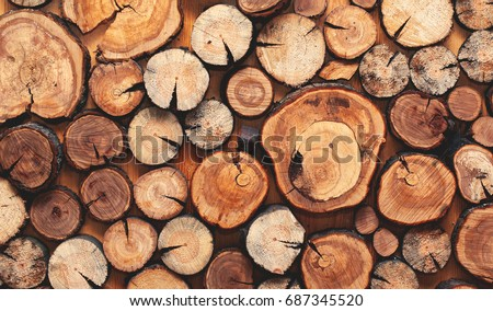 Wooden natural sawn logs as background, top view, flat lay ストックフォト ©