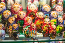 Wooden Nesting Dolls or Russian Matryoshka Dolls for sale in Moscow, Russia, Matryoshka dolls - traditional Russian souvenirs for foreign tourists