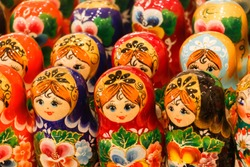 Wooden Nesting Dolls or Russian Matryoshka Dolls for sale in Russia, Matryoshka dolls - traditional Russian souvenirs for foreign tourists