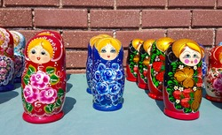 Wooden Nesting Dolls or Russian Matryoshka Dolls for sale in Russia, Matryoshka dolls - traditional Russian souvenirs. Selective focus.