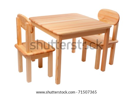 Wooden new table and two chairs isolated on white background - stock photo