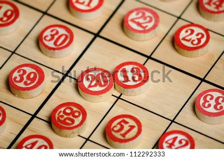 Wooden numbers, random choice.2013 on focus. - stock photo