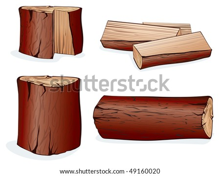Wooden objects.Isolated on white