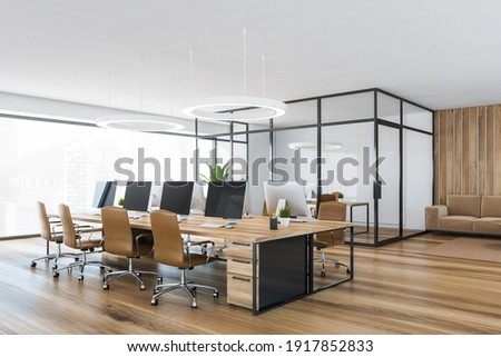 Wooden office room with armchairs and wooden table with computer on parquet floor, side view. Minimalist consulting business room, 3D rendering no people