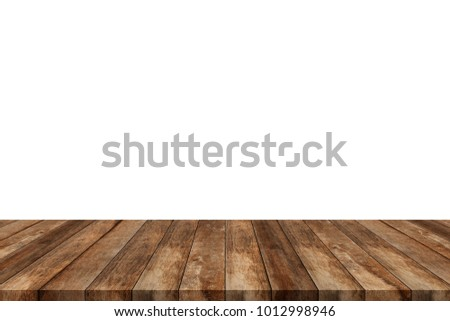 Shutterstock Wooden old table isolated on white background. For your product placement or montage with focus to the table top in the foreground. Empty wooden dark shelf. shelves