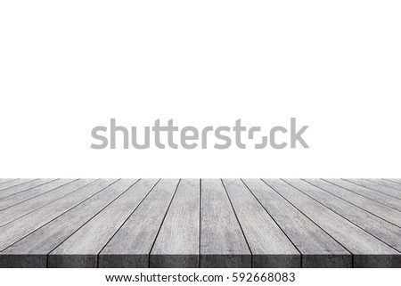 Shutterstock Wooden old table isolated on white background. For your product placement or montage with focus to the table top in the foreground. Empty wooden table
