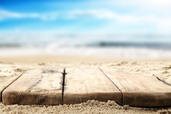 wooden old table top and sea space