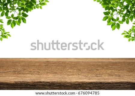 Shutterstock Wooden old table with Green fresh leaf isolated on white background. For your product placement or montage with focus to the table top in the foreground. Empty wooden brown shelf. shelves