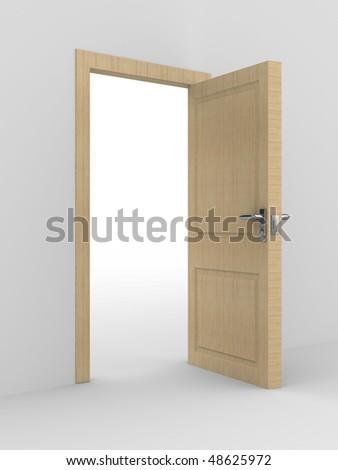 wooden open door. 3D image. home interior