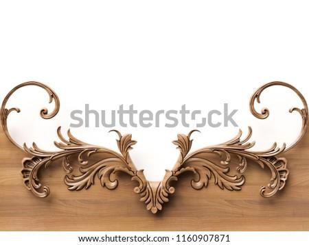 Wooden ornament background. 3D illustration