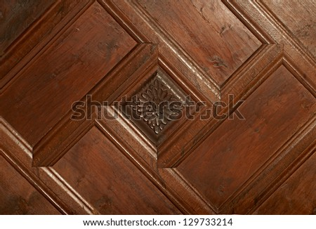Wooden ornament with hand-made carvings in traditional wooden house from Zheravna village, Bulgaria