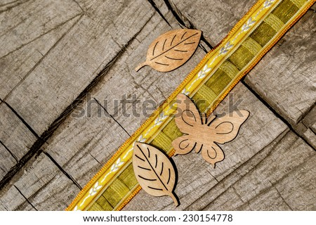 wooden ornaments, ribbon, yellow, decoration, home, home, countryside, orange, sweetheart, Easter, holiday, butterfly, leaf, leaves, wooden butterfly, wooden leaf, plug-ins