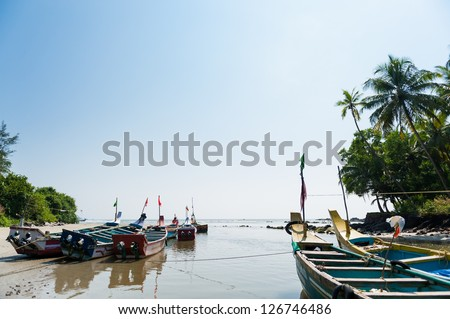 Wooden outrigger fishing boats in India