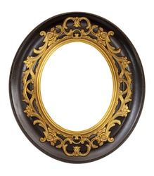 Wooden oval frame for paintings, mirrors or photo isolated on white background. Design element with clipping path
