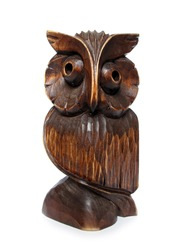 Wooden owl carved figurine