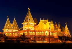 Wooden palace of the russian tsar Alexey Mikhailovich (17th century) in Kolomenskoye at night. Moscow, Russia