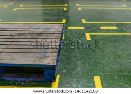 wooden pallet in warehouse layout line background #1461142100